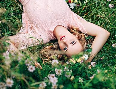 high school girl in field