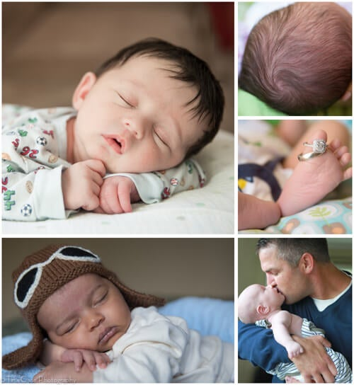 A collage of newborn baby details