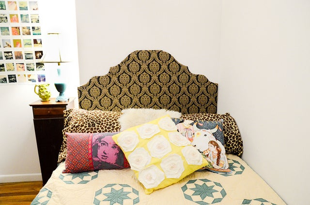 The headboard of a bed.