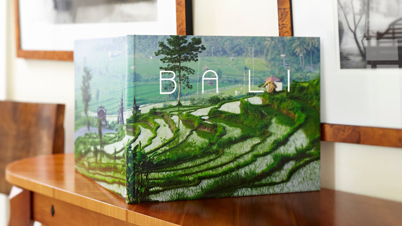 printique by adorama photo book on mantel of bali
