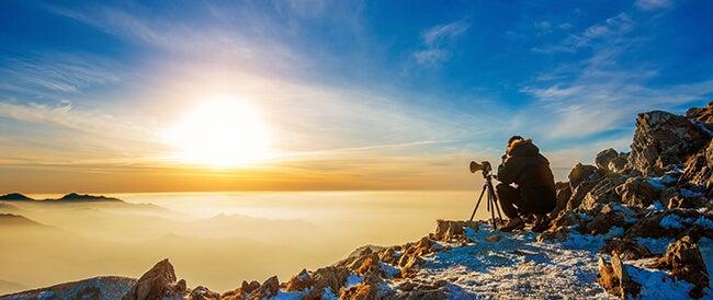 winter photographer tripod