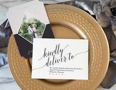 calligraphy on an AdoramaPix wedding envelope