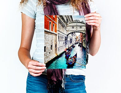 woman holding fine art print produced by AdoramaPix