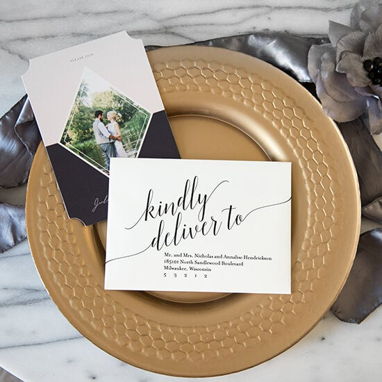calligraphy on a wedding invitation produced by AdoramaPix