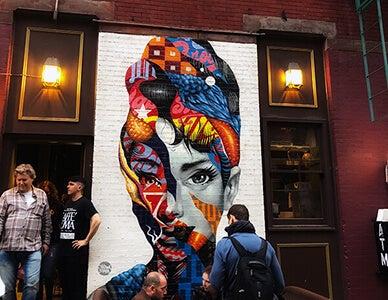 wall mural of audrey hepburn