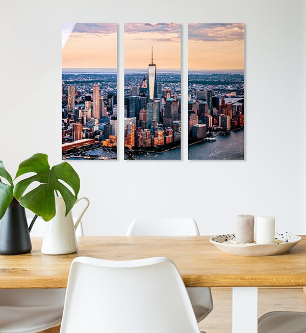 metal cluster of NYC skyline produced by printique