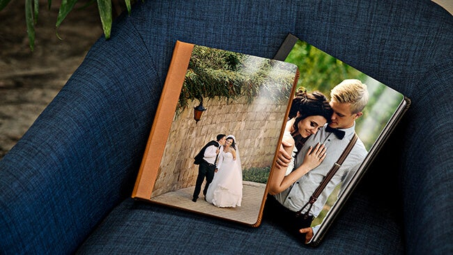 wedding on front of a metal photo album produced by printique