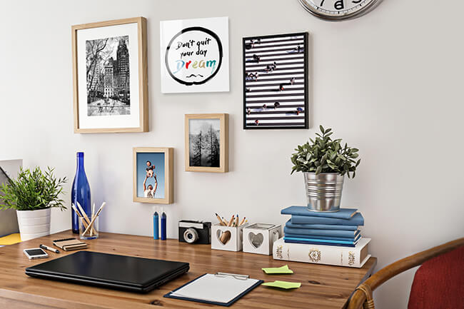 home office gallery wall produced by adoramapix