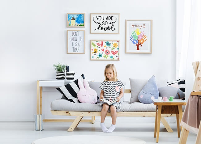 gallery wall in child's room produced by printique