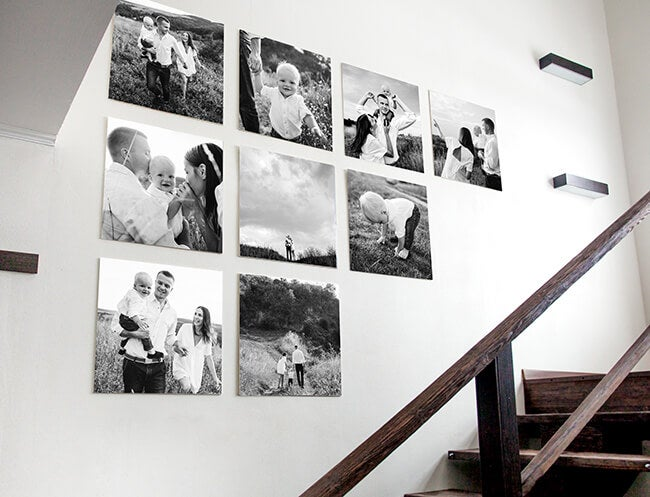 black and white gallery wall for the stairwell