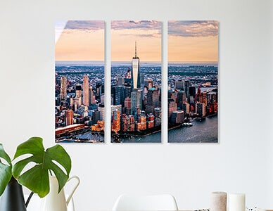 metal cluster triptych of nyc skyline produced by AdoramaPix