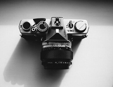 black and white of camera