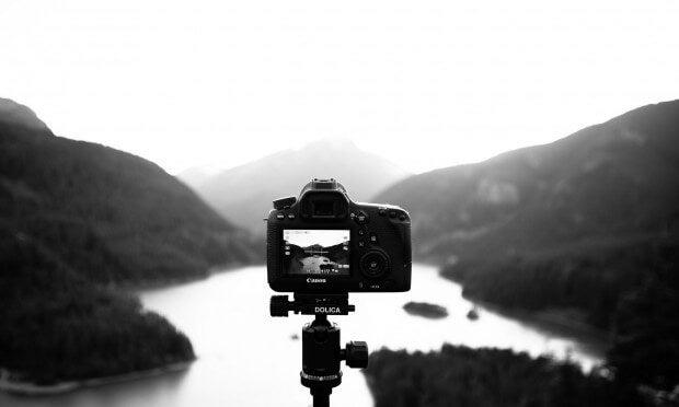 black and white photo - landscape