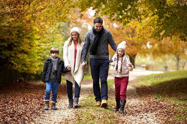 family walking fall portrait