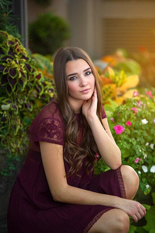 high school senior girl posing