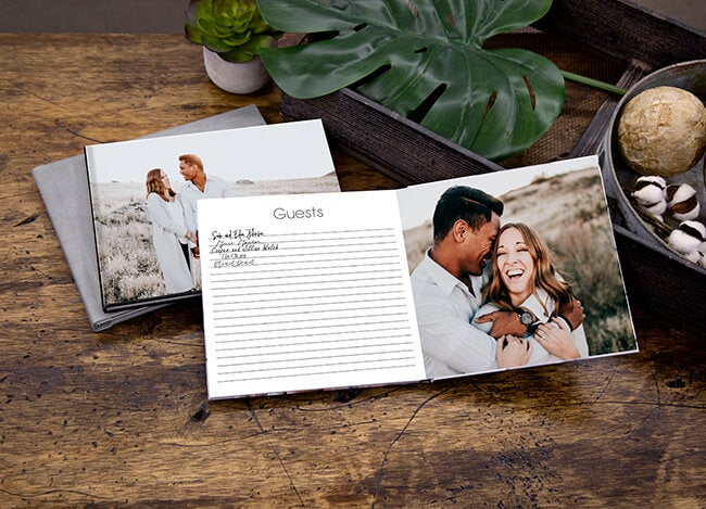engagement sign in book produced by printique