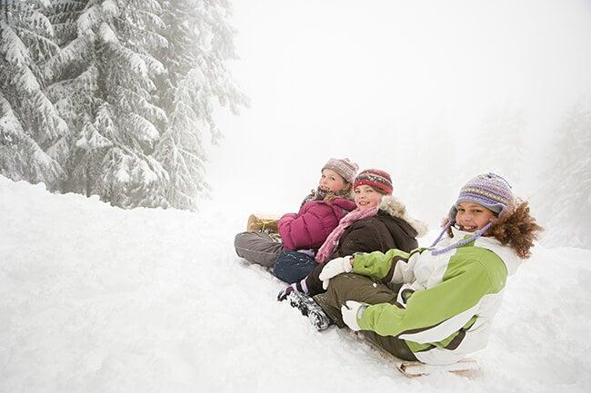kids on sled
