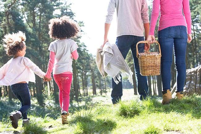 family going on picnic