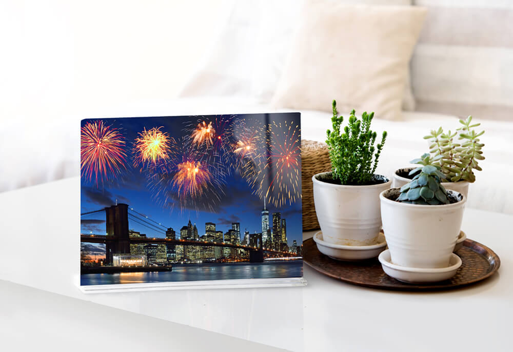 fireworks metal print by printique on coffee table