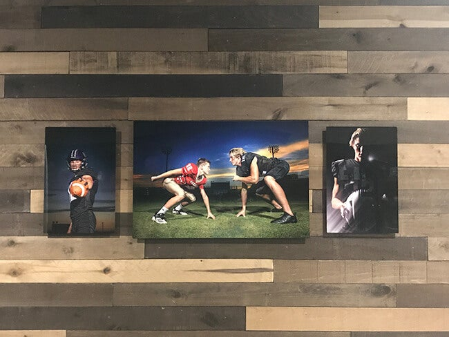 adoramapix metal prints of football players on wall