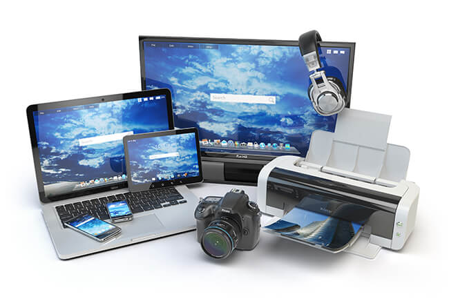 photo of computers and printer
