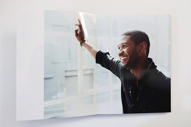 photo book manufactured by Printique  showing Usher