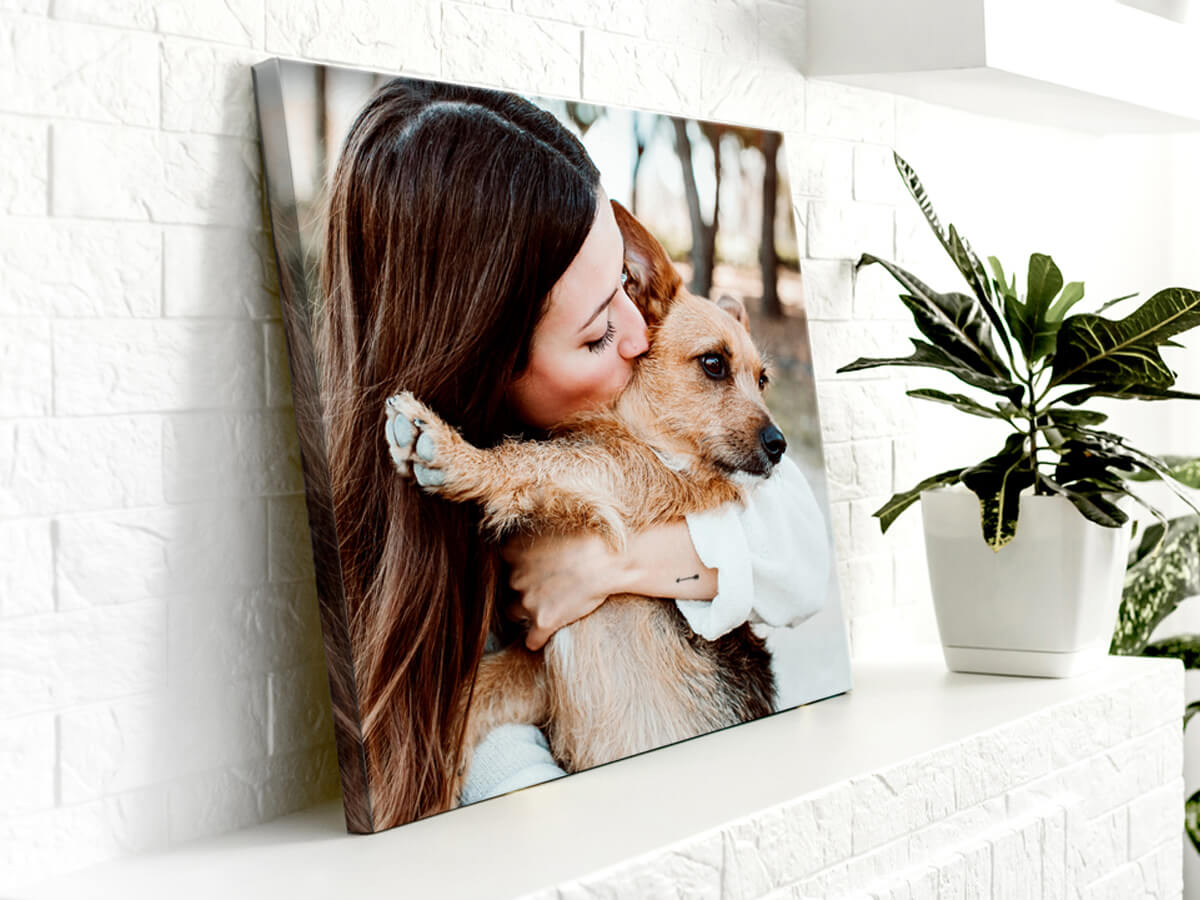canvas of woman and dog printed by printique