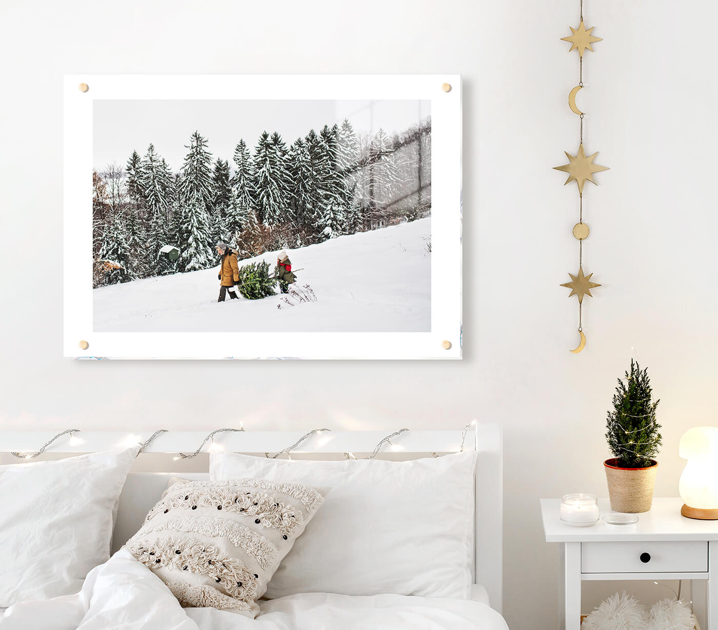 acrylic print manufactured by printique above a bed