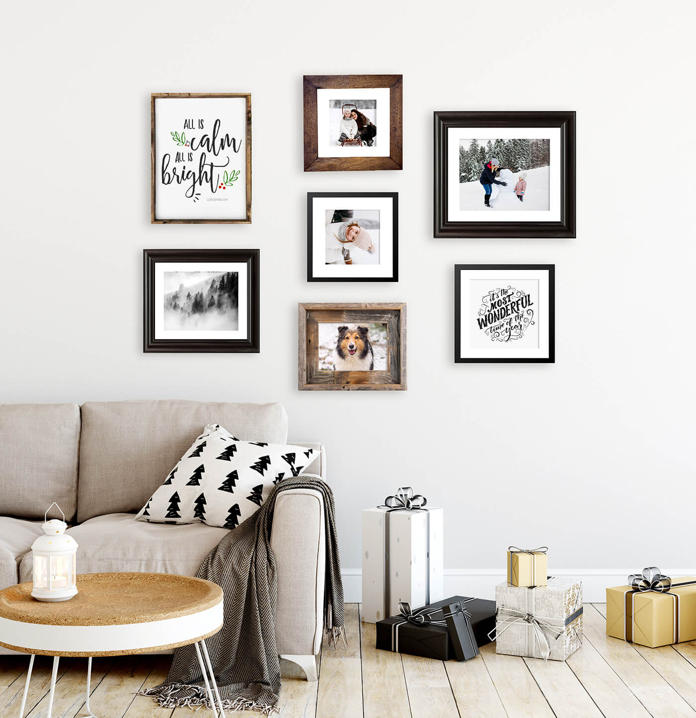 wall gallery with framed photos by printique