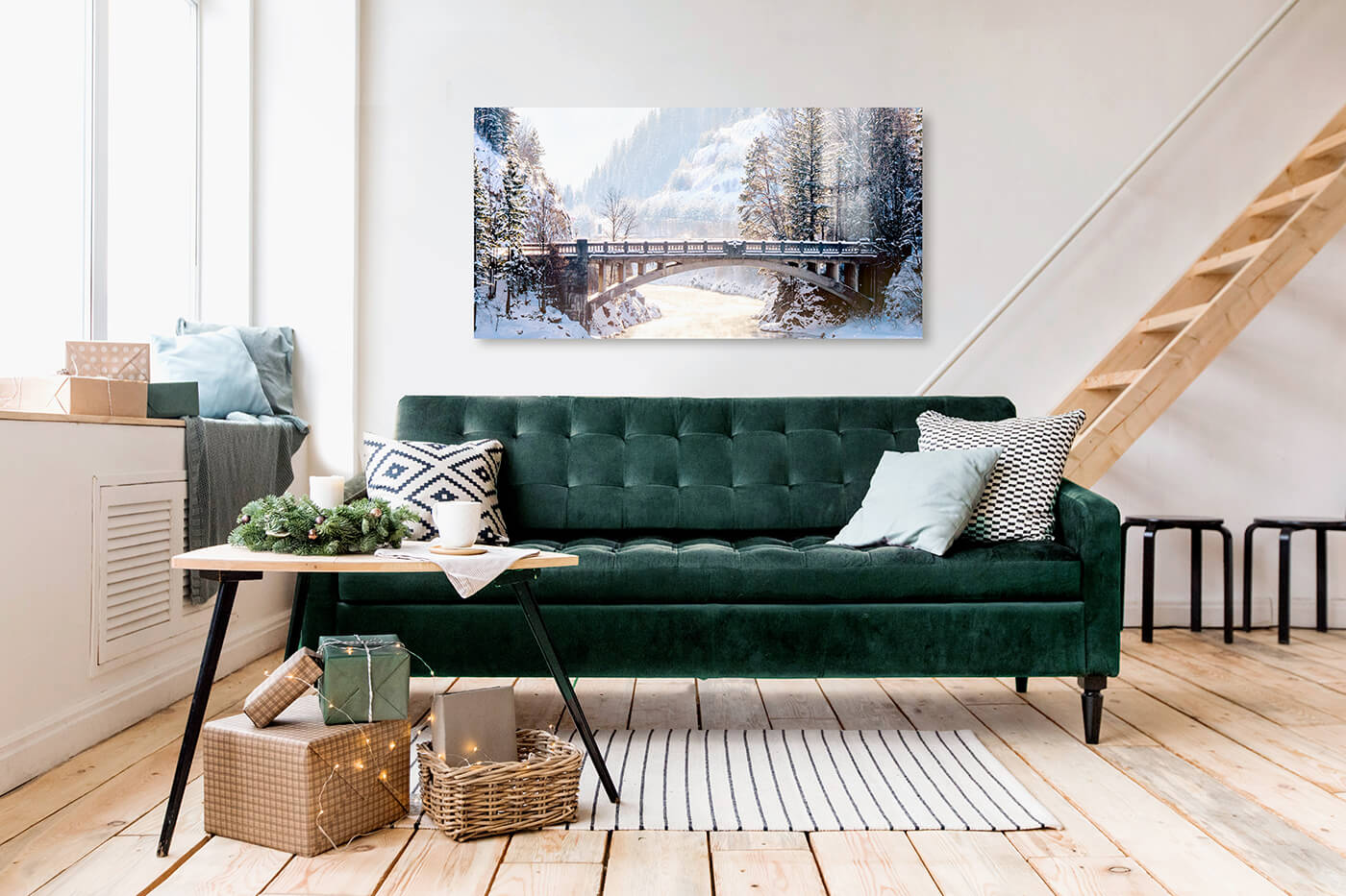 large metal print by printique above a couch