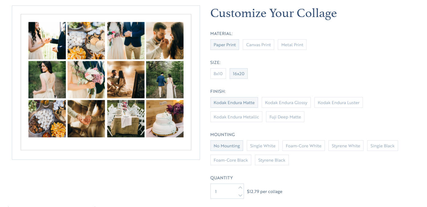 screen shot of printique's collage tool
