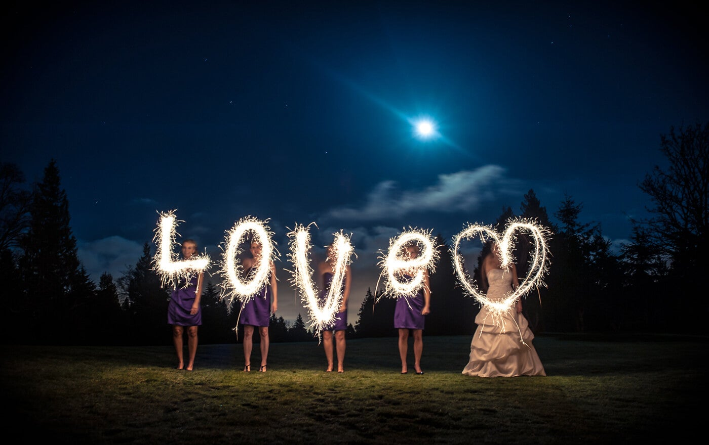 sparkler photography at wedding